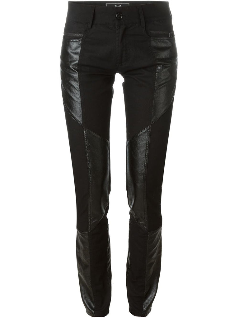 UNCONDITIONAL Signature faux leather and black stretch denim patchwork skinny jeans.