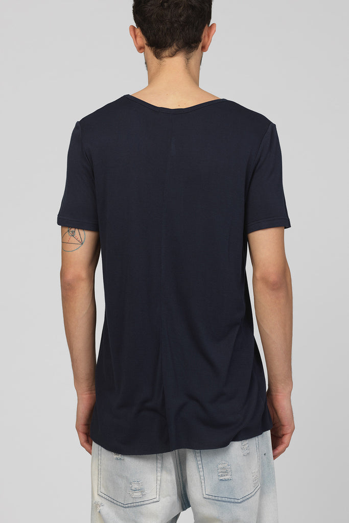 UNCONDITIONAL ink blue loose knit rayon scoop neck t-shirt.
