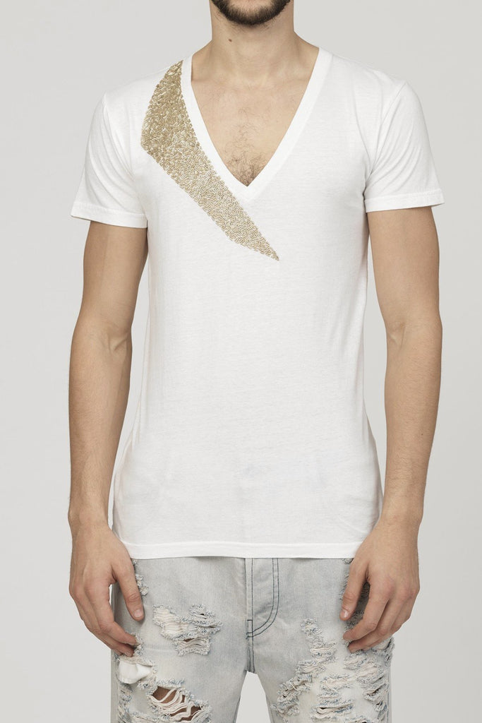 UNCONDITIONAL SS17 White V-neck tee with gold shard neck beading