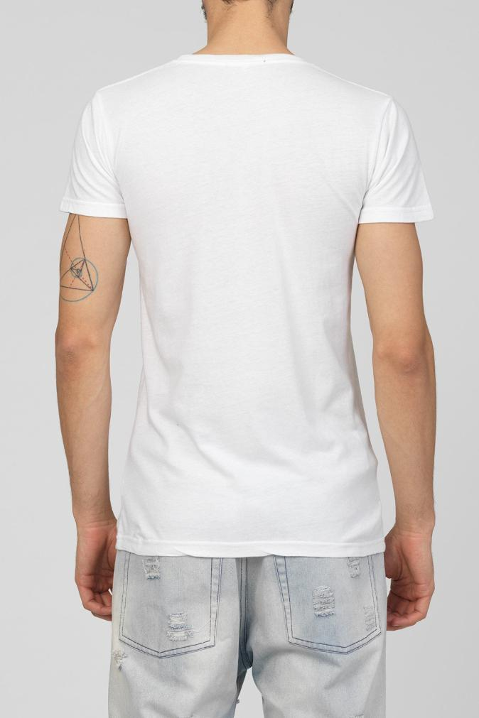 UNCONDITIONAL AW17 White V-neck tee with pewter shard neck beading