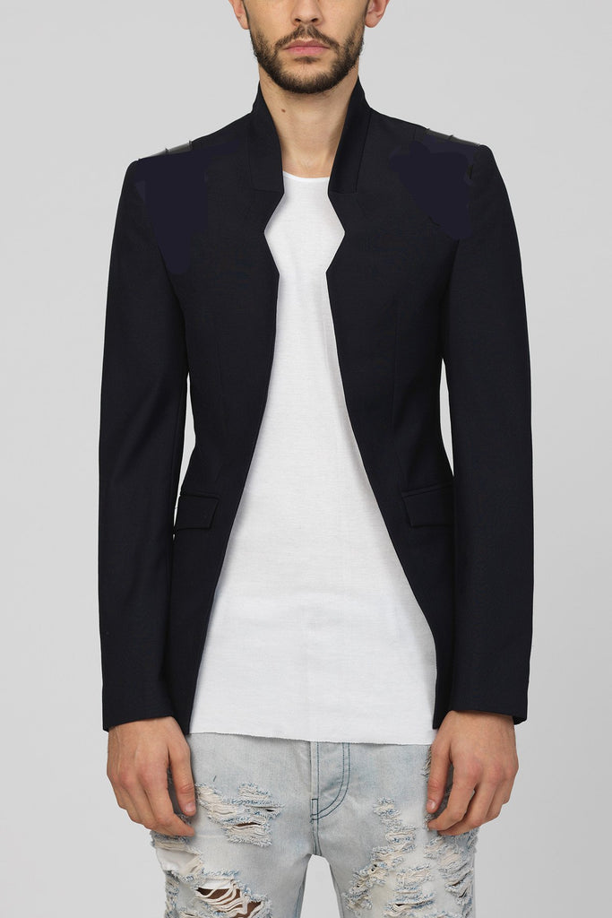 UNCONDITIONAL's Midnight blue cutaway tailored jacket with black patent leather shoulders