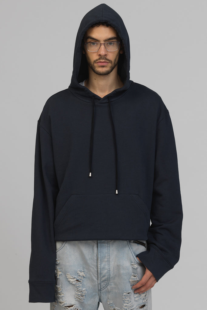 UNCONDITIONAL SS17 oversized stepped hem hoodie in Petrol Blue Sweat