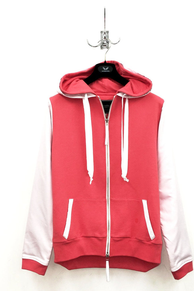 UNCONDITIONAL's coral sweatshirting zip up hoodie with white microfibre layers