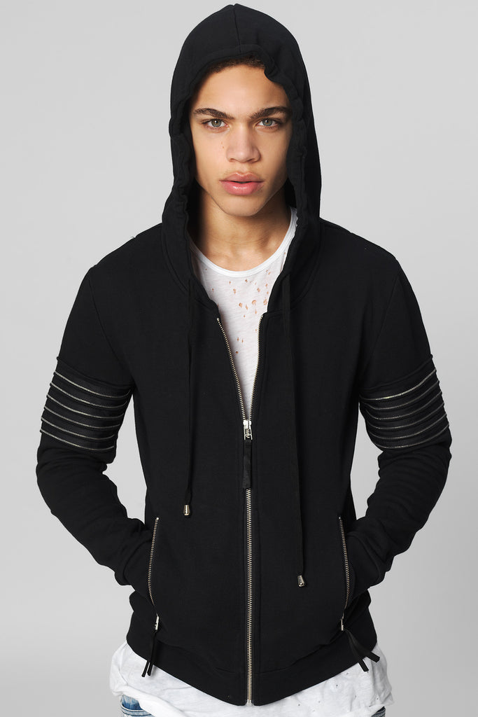 UNCONDITIONAL black brushed sweat hoodie with zip detailing to the arm bicep. MS10RIB-ZIP