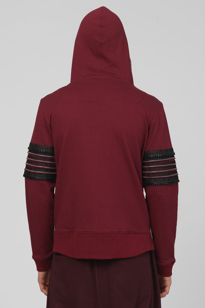 UNCONDITIONAL Loganberry zip up hoodie with arm and hood zip detailing.