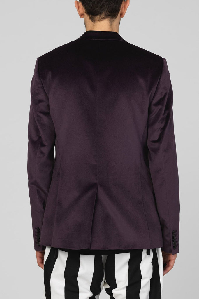 UNCONDITIONAL SS17 Dark Purple cotton velvet wide lapel one button tuxedo jacket