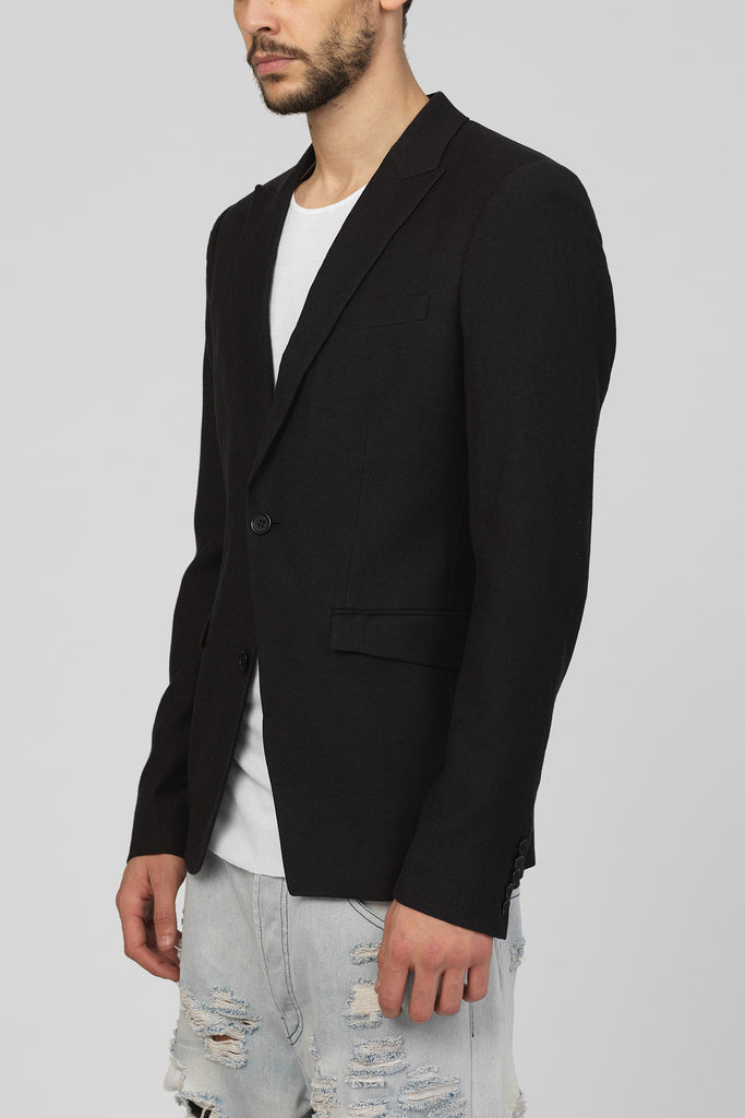 UNCONDITIONAL Black cotton:wool 'reconstructed' 1 button jacket.