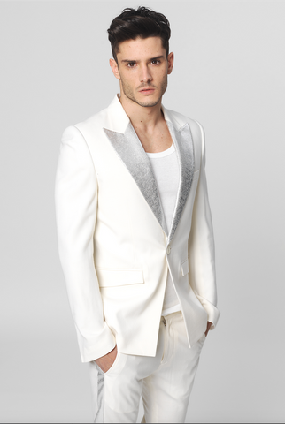 UNCONDITIONAL white patent leather cutaway jacket with bronze shoulders