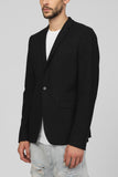 UNCONDITIONAL Black Textured Boucle Wool mix one button tailored jacket.