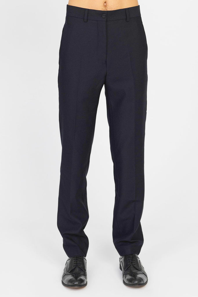 UNCONDITIONAL Deep Midnight pure new wool cigarette tailored trousers.