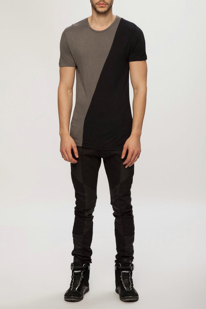 UNCONDITIONAL SS18 Military grey and black rayon two tone t-shirt.