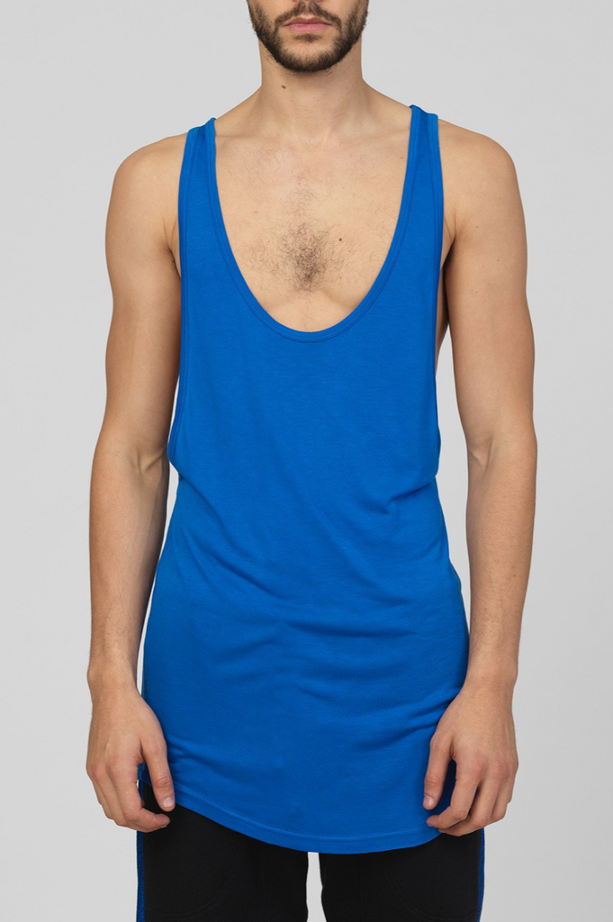 UNCONDITIONAL AW19 Electric blue long low neck vest in pure rayon.