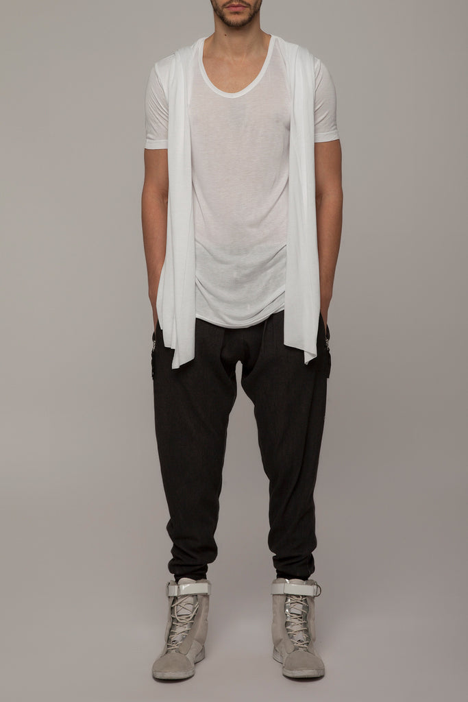 UNCONDITIONAL White rayon hooded cape drape waistcoat T-shirt. R79