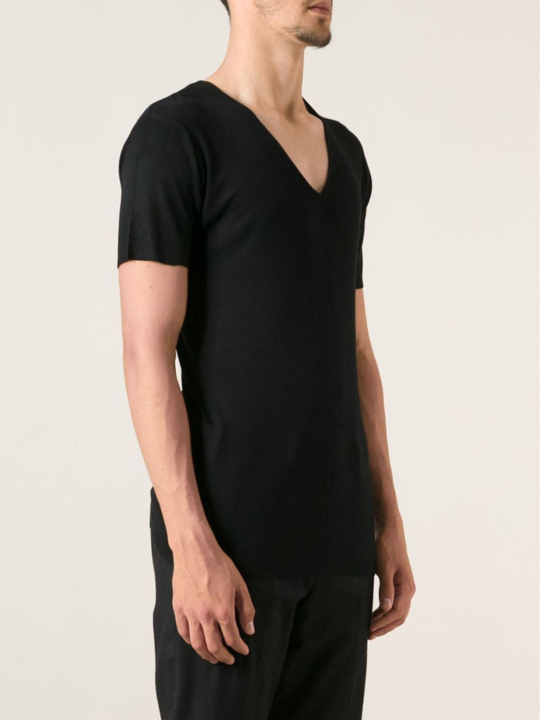 UNCONDITIONAL Black ribbed rayon V-neck T-shirt.