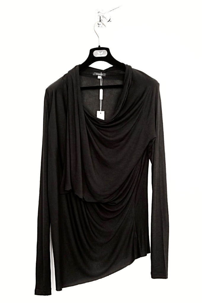 UNCONDITIONAL R84 Black long sleeved extreme drape rayon top.