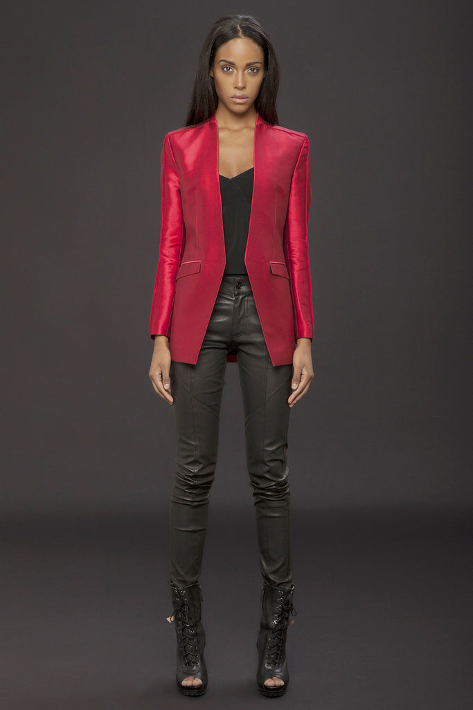 UNCONDITIONAL AW15 ladies red silk mix couture box shouldered jacket.