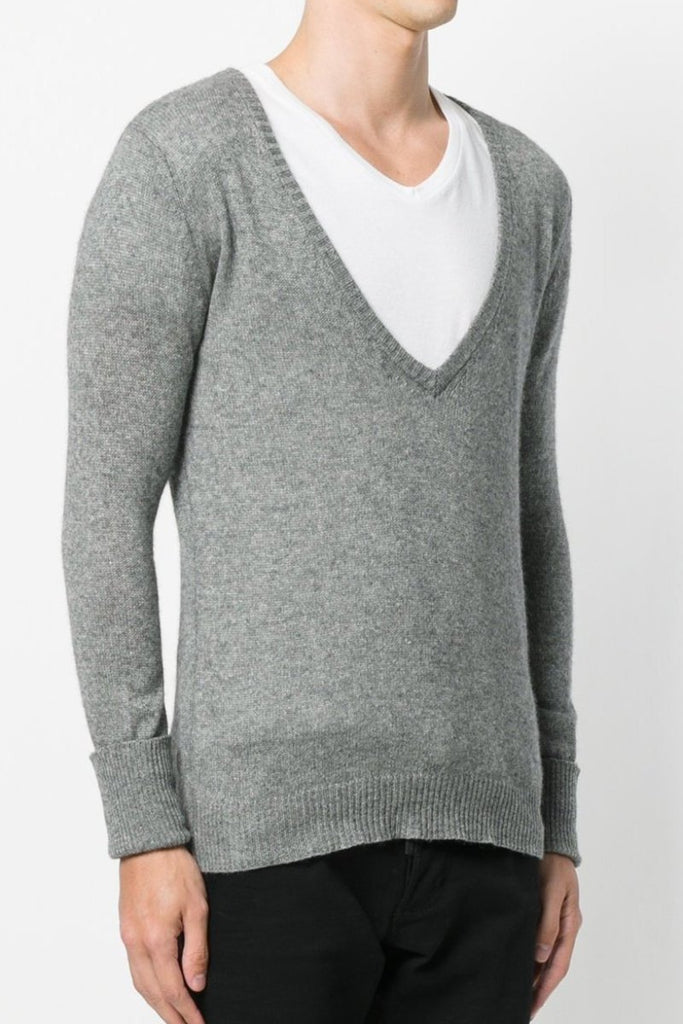 UNCONDITIONAL Rock Grey loose knit cashmere mix, deep V Neck sweater