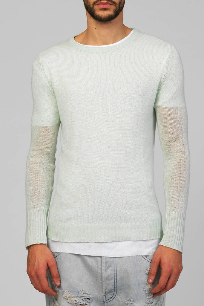 UNCONDITIONAL SS18 Eau de Nil silk cashmere loose knit round neck jumper
