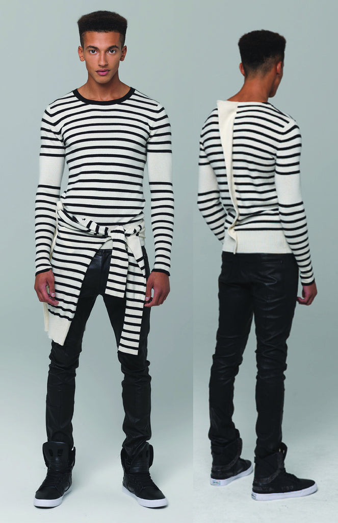 UNCONDITIONAL CASHMERE mix IVORY | BLACK STRIPE dinosaur tail sweater