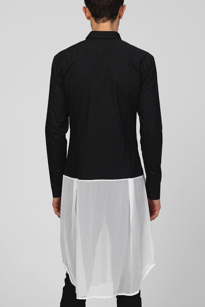 UNCONDITIONAL Black long cotton tail shirt | off-white georgette bottom