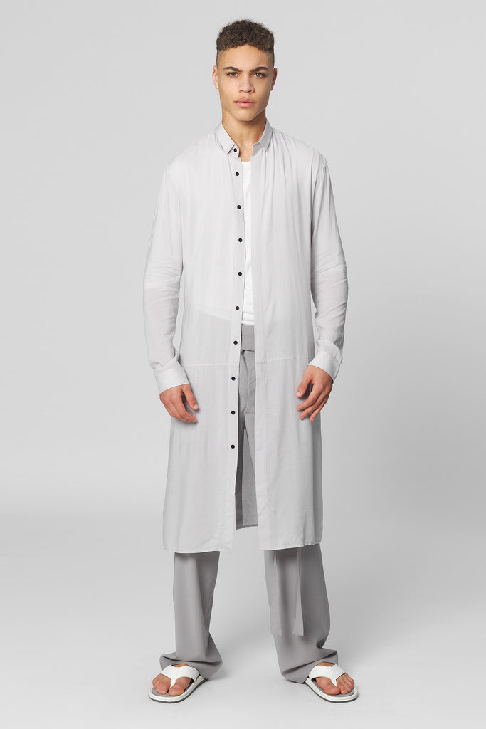 UNCONDITIONAL long shirt with centre back tail split in silver grey light tencel shirting