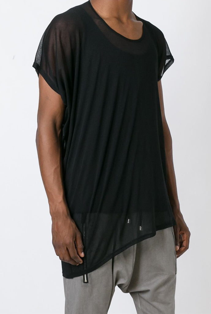 UNCONDITIONAL SS19 Black mesh asymmetric drape scoop neck T