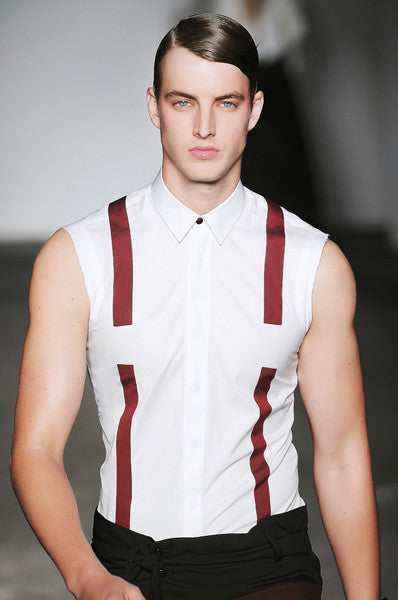 UNCONDITIONAL  black and white pinstripe sleeveless braces shirt.