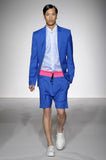 UNCONDITIONAL SS16 Electric blue wool and pink airtex boxer shorts.
