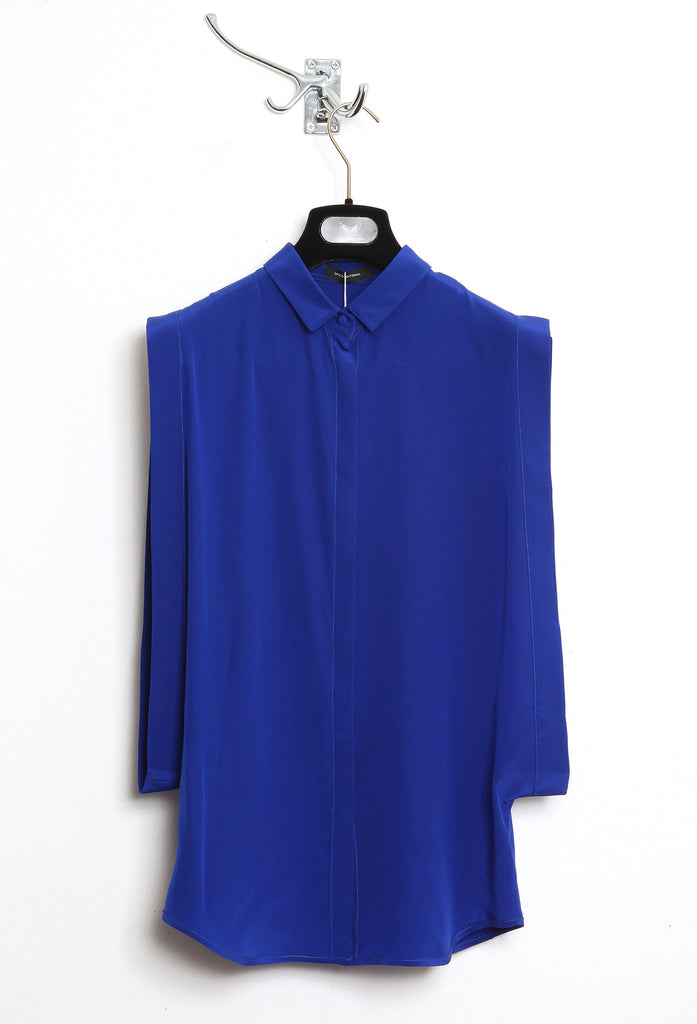 UNCONDITIONAL Azure silk crepe open sided blouse with baby collar.