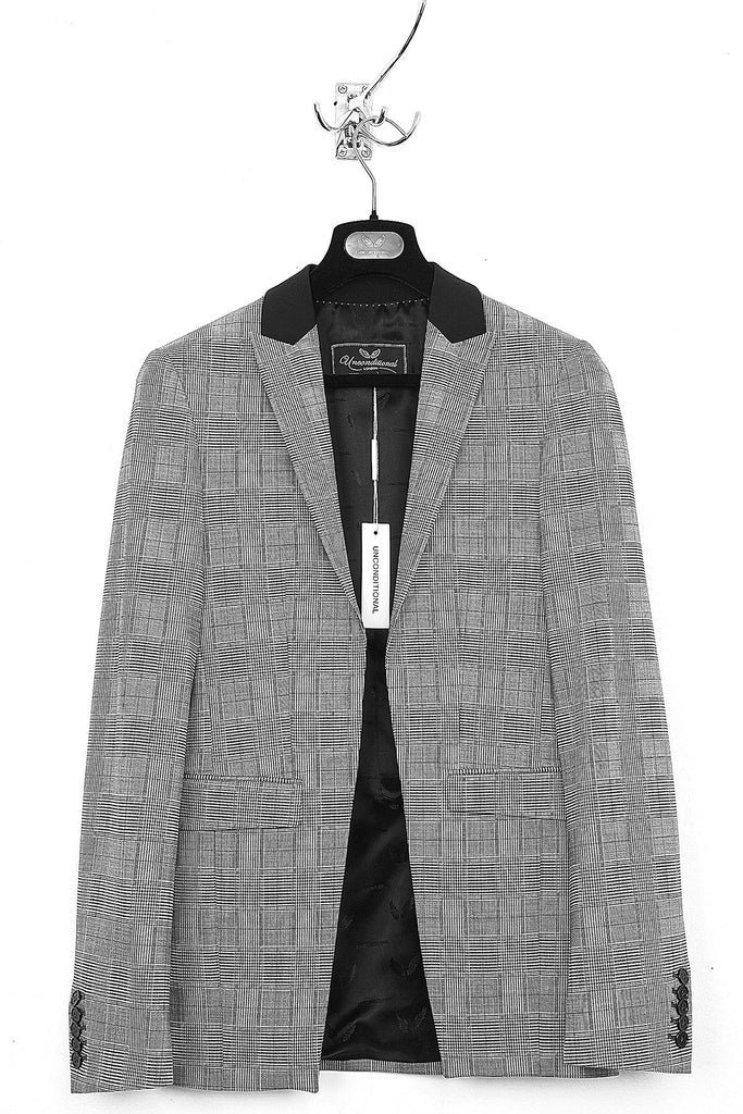 UNCONDITIONAL Prince of Wales check cutaway jacket with black collar