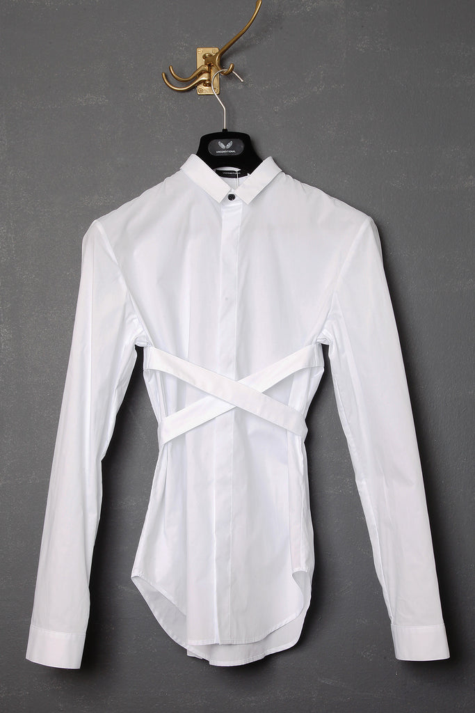 UNCONDITIONAL white long sleeved bondage shirt.