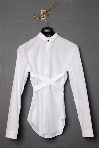 UNCONDITIONAL SS19 White rayon racer back vest with black binding