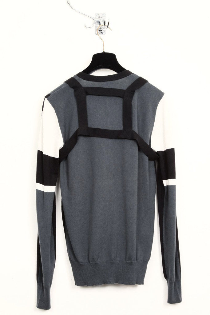 UNCONDITIONAL SS18 black, grey and dirty white cotton knit panelled harness cardigan