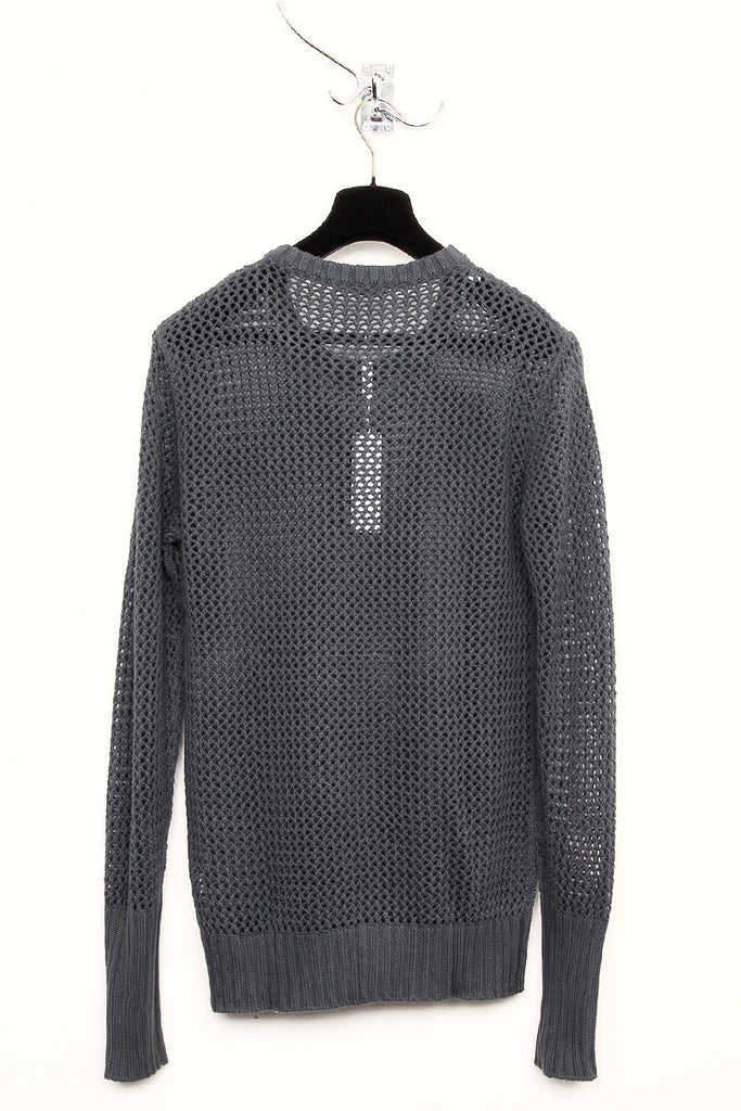 UNCONDITIONAL dark grey mesh knitted crew neck jumper.