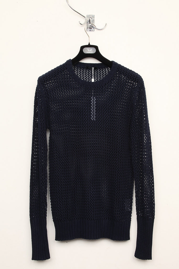 UNCONDITIONAL Black mesh knitted crew neck jumper.