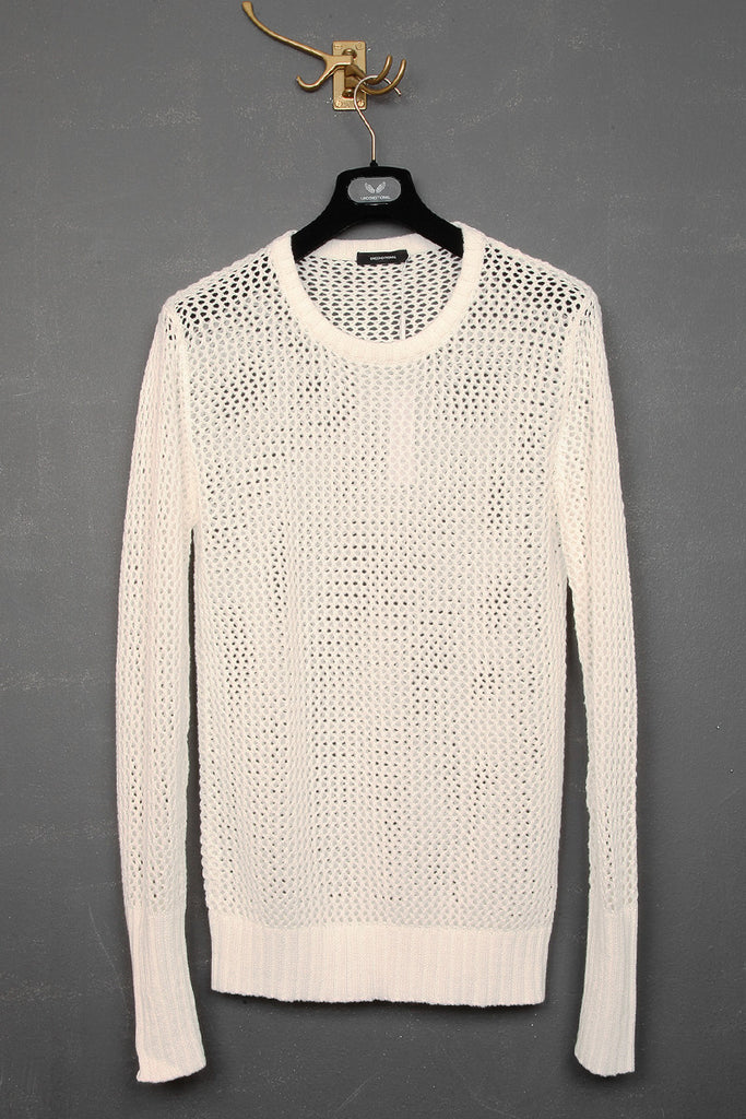UNCONDITIONAL SS18 milk white mesh cashmere cotton knit crew neck jumper.