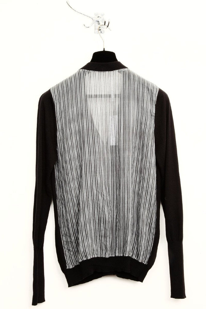 UNCONDITIONAL Black cotton knitted cardigan with black and white fine striped back.