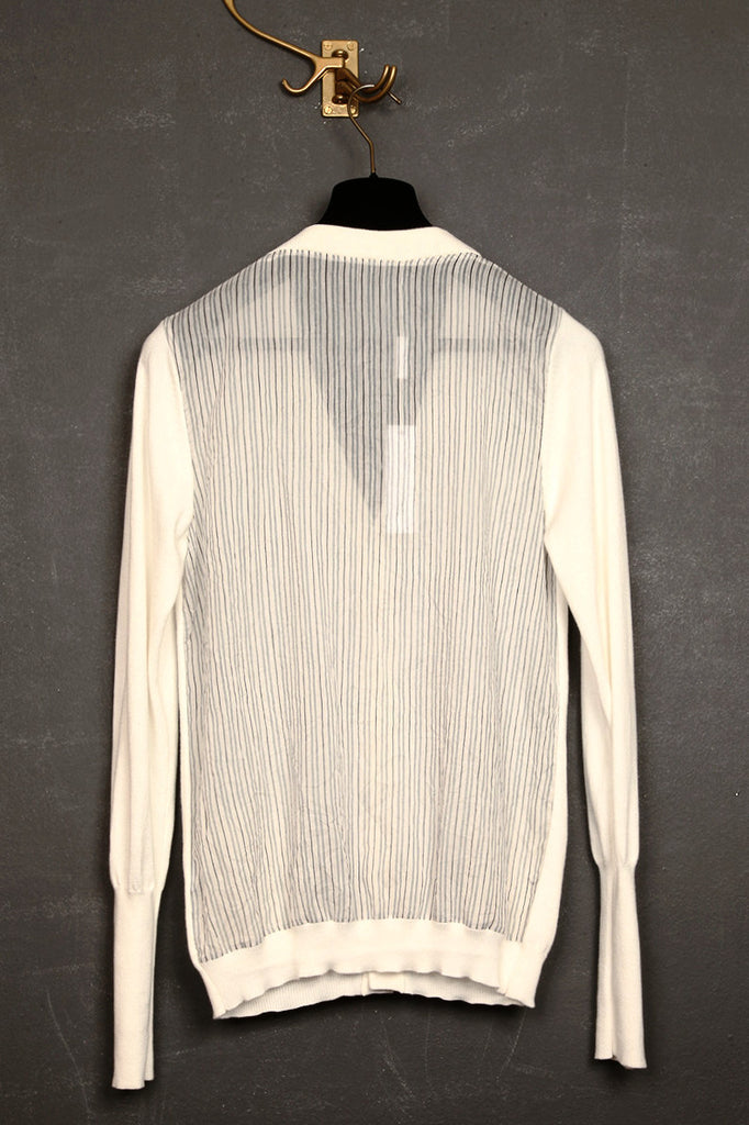 UNCONDITIONAL white cotton cardigan with white & black striped silk cotton shirting back.