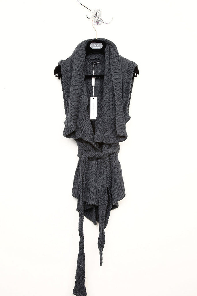 UNCONDITIONAL SS17 Dark Grey hand knitted cable sleeveless belted cardigan.