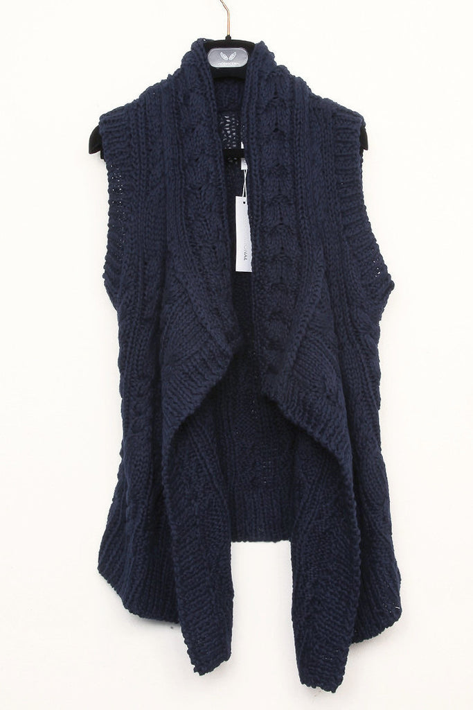 UNCONDITIONAL Dark Navy heavy hand knit cable sleeveless drape cardigan