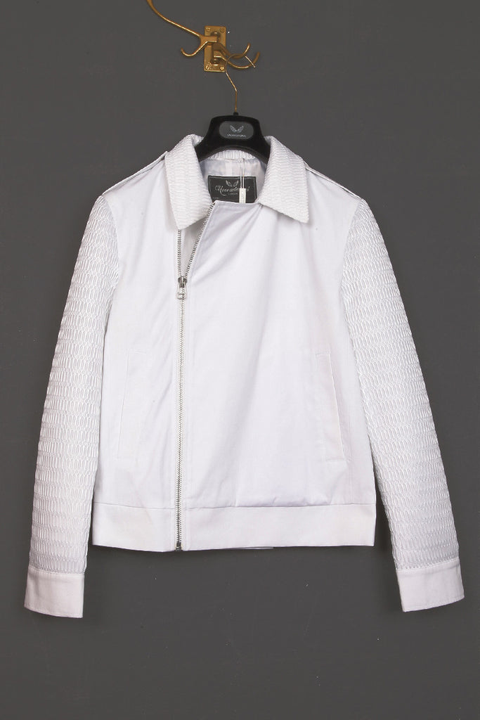 UNCONDITIONAL white short coat with contrast mesh back and sleeves.