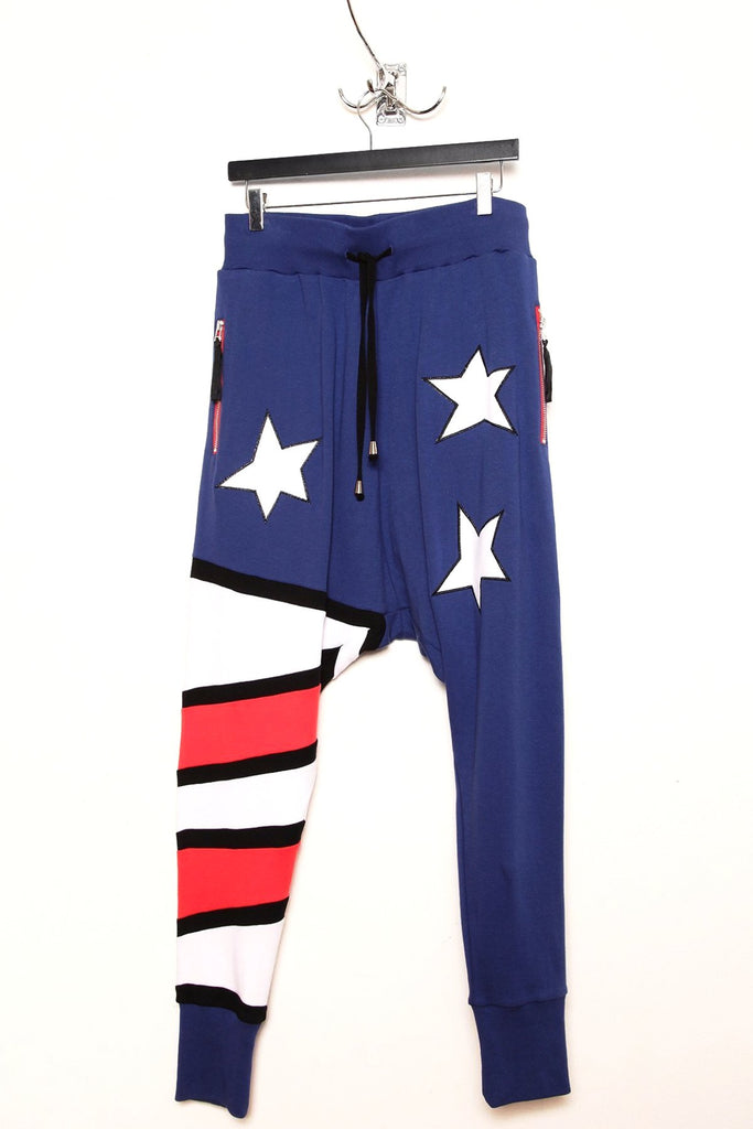UNCONDITIONAL Americana drop crotch full length jersey trouser.