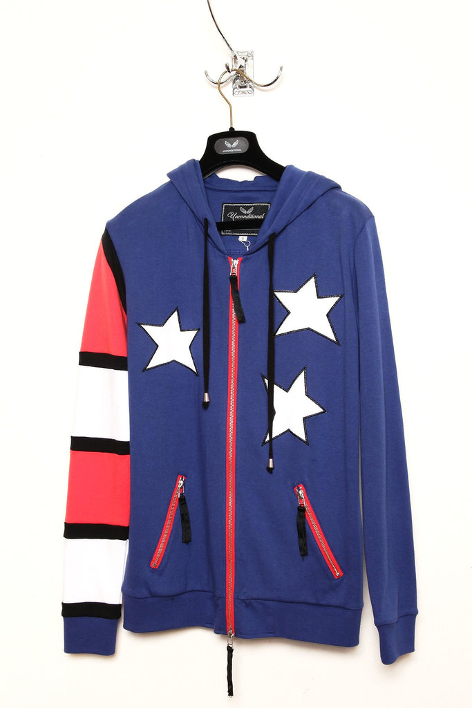 UNCONDITIONAL's Americana Monotone hoodie with double zip fastening. code : HC82A stars and stripes