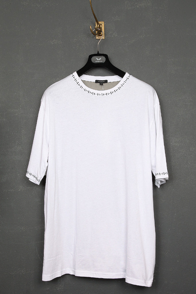 UNCONDITIONAL white and stone over sized t-shirt with contrast black stitching.