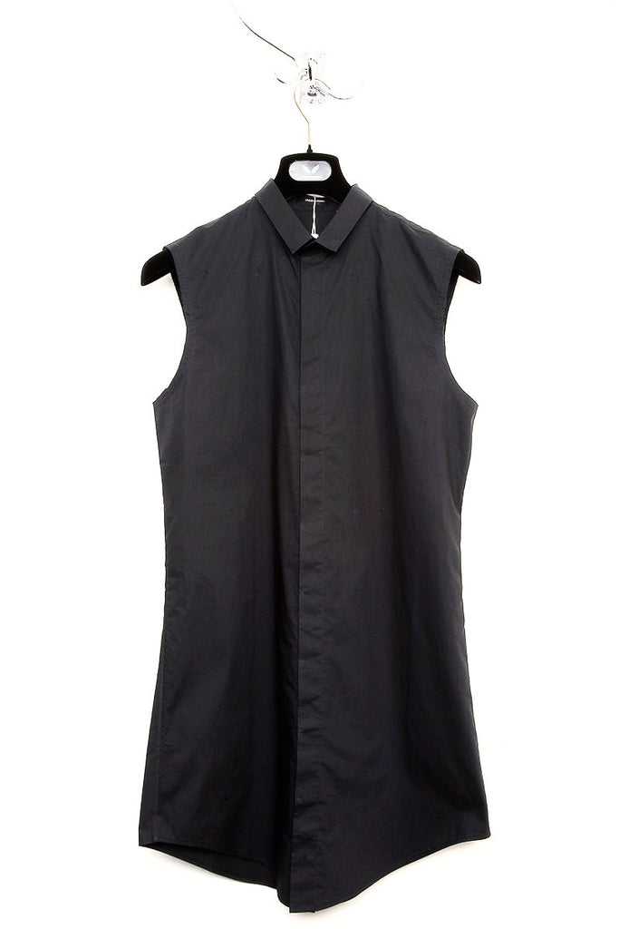 UNCONDITIONAL Black self stripe sleeveless long shirt ; slim fit,  baby collar