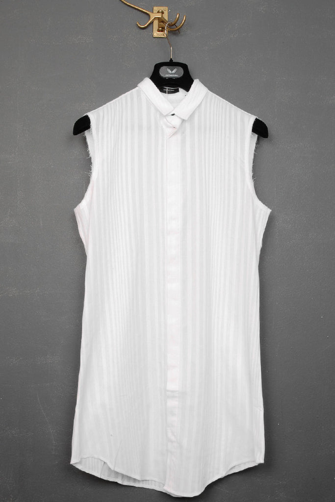 UNCONDITIONAL white self stripe sleeveless long shirt ; slim fit,  baby collar