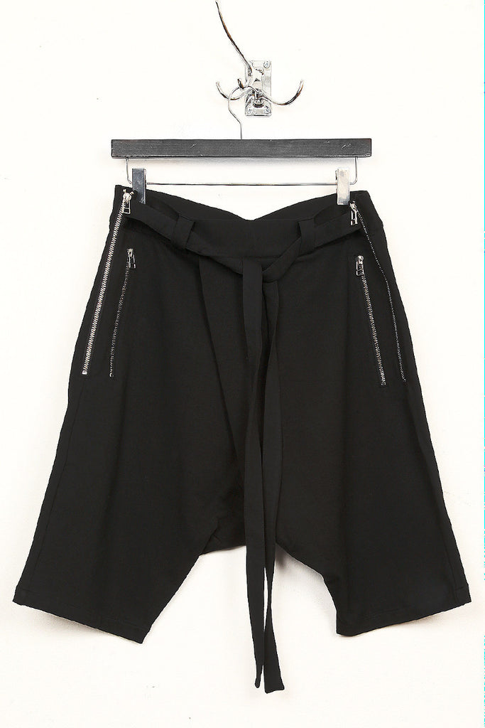 UNCONDITIONAL Black double zip drop crotch shorts with waist ties