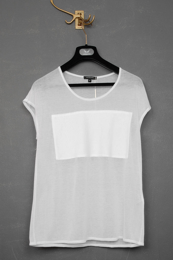 UNCONDITIONAL white mesh oversized tee with silk chest bandeau.