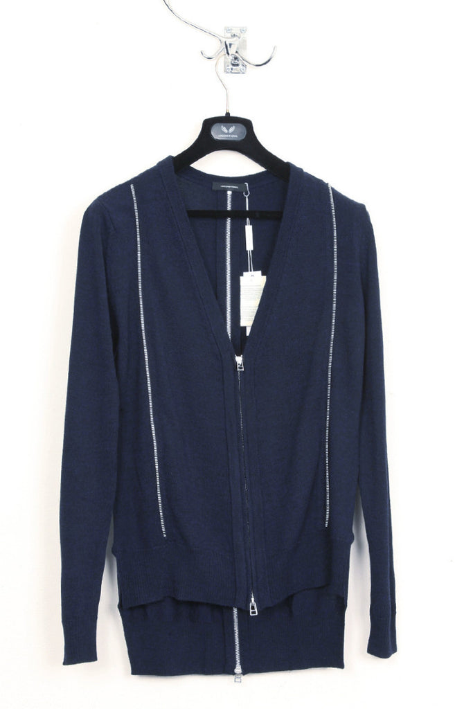 UNCONDITIONAL midnight long COTTON cardigan with inserted zip details.