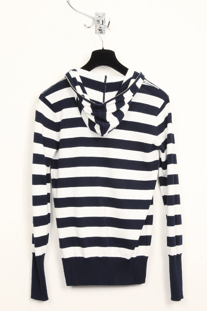 UNCONDITIONAL dark navy and white striped, full zip up knit hoodie.